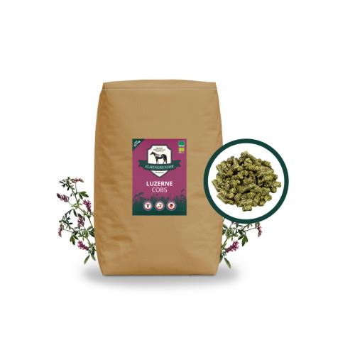 Elmengrunder Premium Bio Luzerne-Cobs - 42 Sack auf Einweg-Palette (ca. 1050 kg)